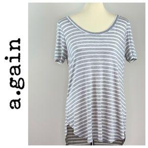 a.gain Soft Grey White Striped Top Tunic L
